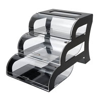 Rosseto BK011 Three-Tier Acrylic Bakery Display Case with Black Steel Stand - 15 1/4 inch x 23 1/4 inch x 15 1/2 inch