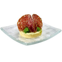 Rosseto GLS013 4 inch Clear Printed Glass Square Mini Plate - 24/Case