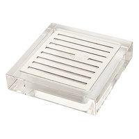 Rosseto LD108 Acrylic / Stainless Steel Square Drip Tray - 4 1/4 inch x 4 1/4 inch x 1 inch