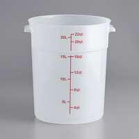 Choice 22 Qt. Translucent Round Polypropylene Food Storage Container with Red Gradations