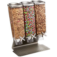 Rosseto EZ515 EZ-PRO 3.8 Liter Triple Canister Tabletop Snack / Cereal Dispenser with Stainless Steel Stand - 14 inch x 8 inch x 17 inch