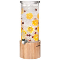 Rosseto LD126 3 Gallon Clear Acrylic Round Beverage Dispenser with Bamboo Base