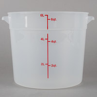 Choice 6 Qt. Translucent Round Polypropylene Food Storage Container with Red Gradations