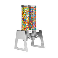 Rosseto EZ552 EZ-SERV 4.9 Liter Double Canister Tabletop Snack / Cereal Dispenser with Stainless Steel Stand - 12 inch x 13 1/2 inch x 26 1/4 inch