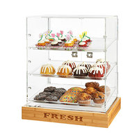 Rosseto BD125 2 Door Acrylic Bakery Display Case with 3 Frosted Trays and FRESH Bamboo Base - 21 1/2 inch x 17 inch x 25 1/2 inch
