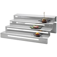 Rosseto SM248 19 1/2 inch x 7 15/16 inch Stainless Steel Straight Buffet Step Display