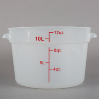 Choice 12 Qt. Translucent Round Polypropylene Food Storage Container with Red Gradations