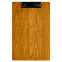Menu Solutions WDCLIP-A Country Oak 5 1/2 inch x 8 1/2 inch Customizable Wood Menu Clip Board / Check Presenter