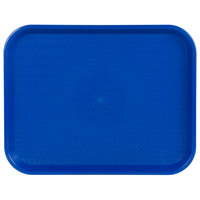 Choice 14 inch x 18 inch Blue Plastic Fast Food Tray - 12/Pack