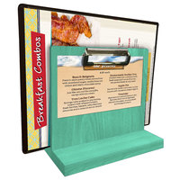 Menu Solutions WDMHS 3 inch x 7 inch Washed Teal Wood Tabletop Menu Caddy with Clip