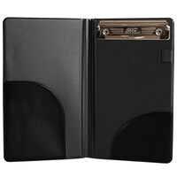 H. Risch, Inc. WPH DX CLIP 9 inch x 5 inch Black Vinyl Deluxe Server Book with Wallet Pocket and Clip
