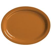 World Tableware VCC-14 Veracruz 13 1/4 inch x 10 1/8 inch Oval Cocoa Narrow Rim China Platter - 12/Case