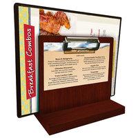 Menu Solutions WDMHS 3 inch x 7 inch Mahogany Wood Tabletop Menu Caddy with Clip