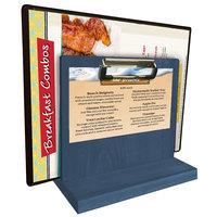 Menu Solutions WDMHS 3 inch x 7 inch Denim Wood Tabletop Menu Caddy with Clip