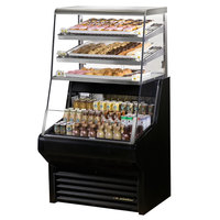 True THAC-36DG-LD-B 36 inch Black Refrigerated Horizontal Air Curtain Merchandiser with Five Shelves