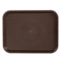 Choice 10 inch x 14 inch Chocolate Brown Plastic Fast Food Tray - 12/Pack