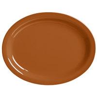 World Tableware VCC-13 Veracruz 11 1/2 inch x 9 3/8 inch Oval Cocoa Narrow Rim China Platter - 12/Case