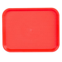 Choice 10 inch x 14 inch Red Plastic Fast Food Tray - 12/Pack