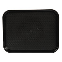 Choice 10 inch x 14 inch Black Plastic Fast Food Tray - 12/Pack