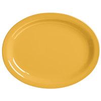 World Tableware VCM-13 Veracruz 11 1/2 inch x 9 3/8 inch Oval Marigold Narrow Rim China Platter   - 12/Case