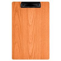 Menu Solutions WDCLIP-A Mandarin 5 1/2 inch x 8 1/2 inch Customizable Wood Menu Clip Board / Check Presenter
