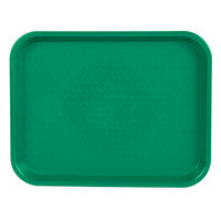 Choice 10 inch x 14 inch Green Plastic Fast Food Tray - 12/Pack