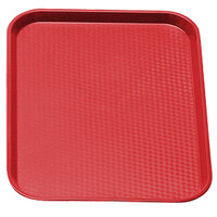 Cambro 1216FF163 12 inch x 16 inch Red Customizable Fast Food Tray - 24 / Case