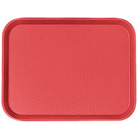Cambro 1216FF163 12 inch x 16 inch Red Customizable Fast Food Tray - 24/Case