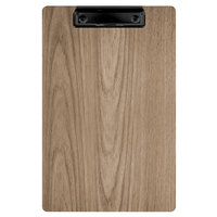 Menu Solutions WDCLIP-A Weathered Walnut 5 1/2 inch x 8 1/2 inch Customizable Wood Menu Clip Board