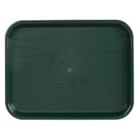 Choice 10 inch x 14 inch Forest Green Plastic Fast Food Tray - 24/Case