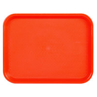 Choice 10 inch x 14 inch Orange Plastic Fast Food Tray - 12/Pack