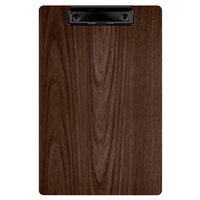 Menu Solutions WDCLIP-A Walnut 5 1/2 inch x 8 1/2 inch Customizable Wood Menu Clip Board / Check Presenter