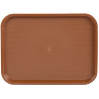 Choice 12 inch x 16 inch Brown Plastic Fast Food Tray - 12/Pack