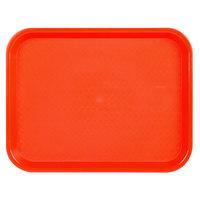 Choice 10 inch x 14 inch Orange Plastic Fast Food Tray - 24/Case