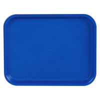 Choice 10 inch x 14 inch Blue Plastic Fast Food Tray - 12/Pack