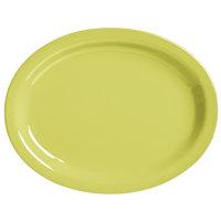 World Tableware VCG-13 Veracruz 11 1/2 inch x 9 3/8 inch Oval Margarita Green Narrow Rim China Platter   - 12/Case