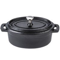 World Tableware CIS-27 11 oz. Oval Miniature Cast Iron Dutch Oven with Lid - 12/Case