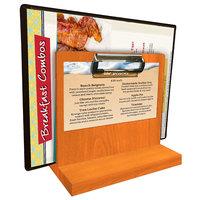 Menu Solutions WDMHS 3 inch x 7 inch Mandarin Wood Tabletop Menu Caddy with Clip