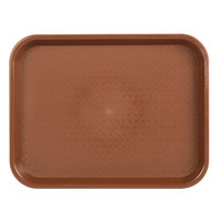 Choice 10 inch x 14 inch Brown Plastic Fast Food Tray - 12/Pack