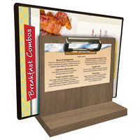Menu Solutions WDMHS 3 inch x 7 inch Weathered Walnut Wood Tabletop Menu Caddy with Clip