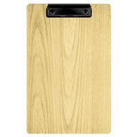 Menu Solutions WDCLIP-A Natural 5 1/2 inch x 8 1/2 inch Customizable Wood Menu Clip Board / Check Presenter