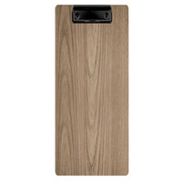 Menu Solutions WDCLIP-BA Weathered Walnut 4 1/4 inch x 11 inch Customizable Wood Menu Clip Board