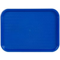Choice 12 inch x 16 inch Blue Plastic Fast Food Tray - 12/Pack