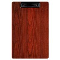 Menu Solutions WDCLIP-A Mahogany 5 1/2 inch x 8 1/2 inch Customizable Wood Menu Clip Board