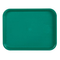 Choice 10 inch x 14 inch Teal Plastic Fast Food Tray - 12/Pack