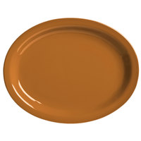 World Tableware VCC-12 Veracruz 9 3/4 inch x 7 1/2 inch Oval Cocoa Narrow Rim China Platter - 24/Case
