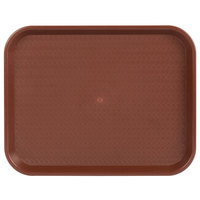 Choice 14 inch x 18 inch Burgundy Plastic Fast Food Tray - 12/Pack