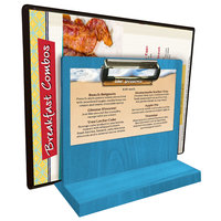 Menu Solutions WDMHS 3 inch x 7 inch Sky Blue Wood Tabletop Menu Caddy with Clip