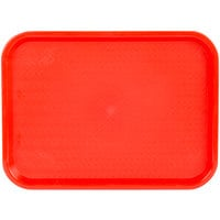Choice 12 inch x 16 inch Red Plastic Fast Food Tray - 12/Pack