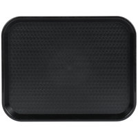Choice 14 inch x 18 inch Black Plastic Fast Food Tray - 12/Pack